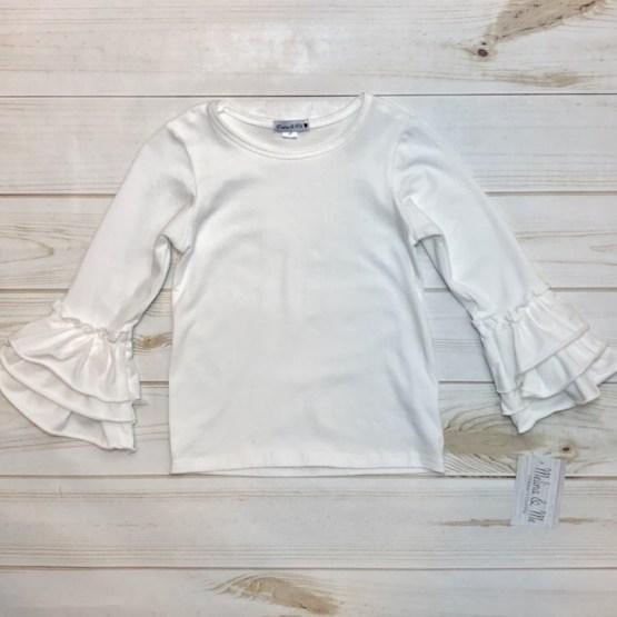 Melina & Me - Basic Ruffle Long Sleeve - Ivory