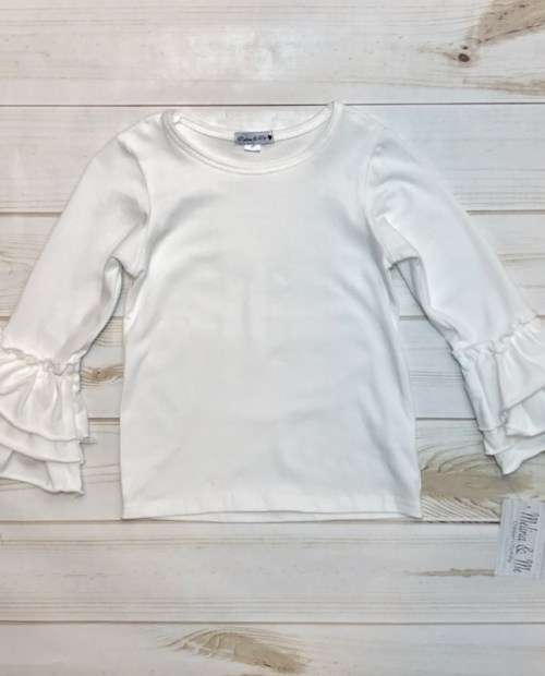 Melina & Me - Basic Ruffle Long Sleeve - Ivory