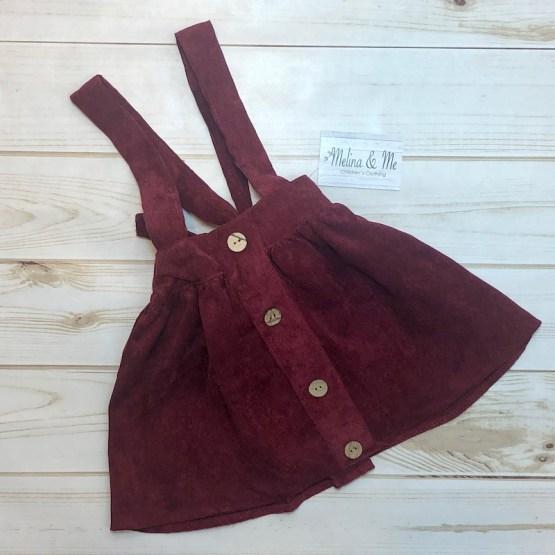 Melina & Me - Corduroy Suspender Skirt - Berry