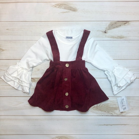 Melina & Me - Corduroy Suspender Skirt and Shirt