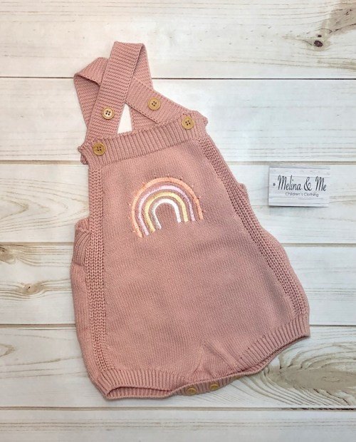 Melina & Me - Rainbow Knit Romper - Blush