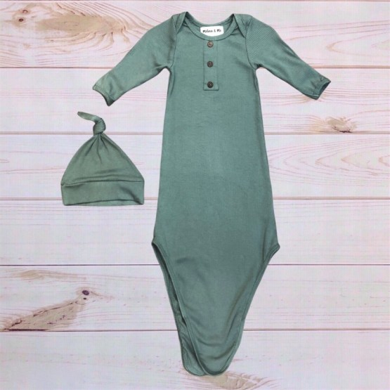 Melina & Me - Finn Ribbed Baby Gown (Untied)