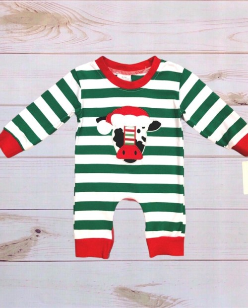 Melina & Me - Striped Christmas Cow Romper