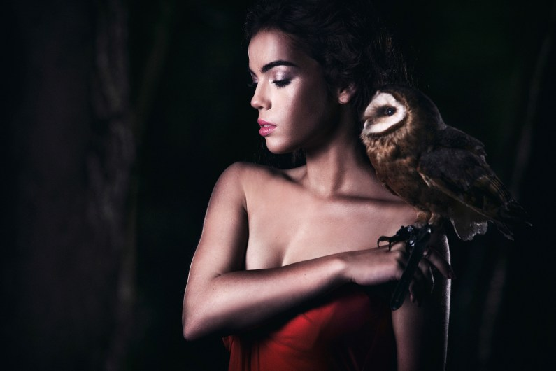 Portrait of a beautiful caucasian young woman posing with a barn owl in a forest.