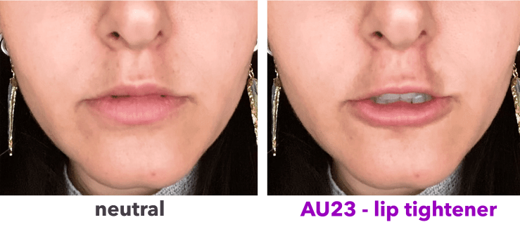 AU23 - lip tightener - orbicularis oris - neutral and pose