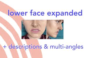 FACS cheat sheet - Facial Action Coding System - FACS AUs - action units - lower face expressions - AU10 upper lip raiser - AU11 nasolabial furrow deepener - AU12 lip corner puller - AU13 sharp lip puller AKA cheek puffer - AU14 dimpler - AU15 lip corner depressor - AU16 lower lip depressor - AU17 chin raiser - AU18 lip pucker