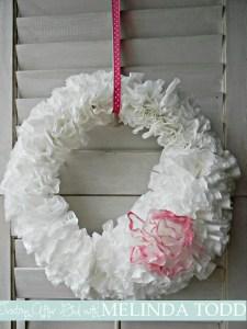 Valentine's Coffee Filter Wreath! $2 to make!