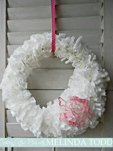 Valentine's Coffee Filter Wreath! $2 to make!