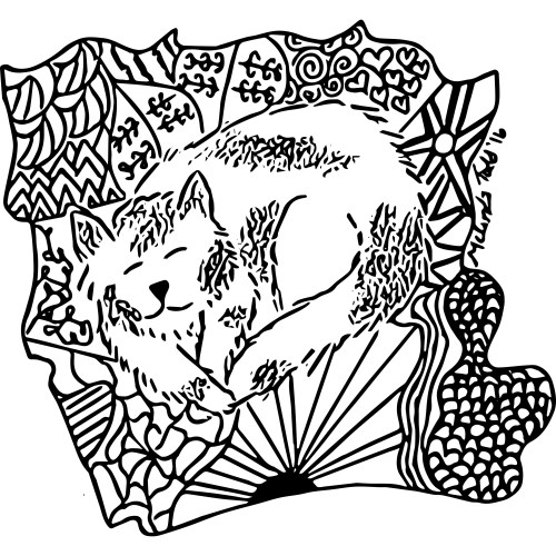 Kitten On Blanket Coloring Page by Melinda Todd
