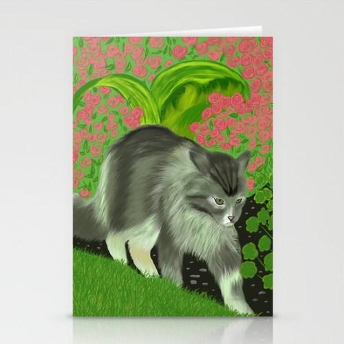 Cat In The Garden Card