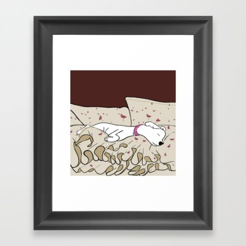 Dog In A Pile of Blankets Framed Print