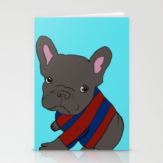French Bull Dog Puppy In a Sweater Cards