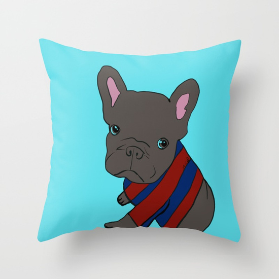 French Bull Dog Puppy Throw Pillow
