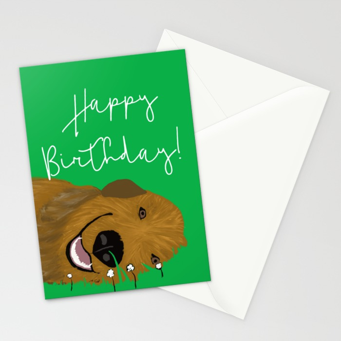 Golden Doodle Birthday Card by Melinda Todd