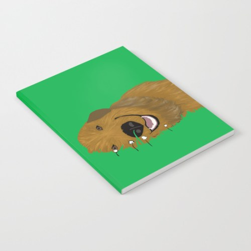 Golden Doodle or Retriever In Grass Notebook by Melinda Todd