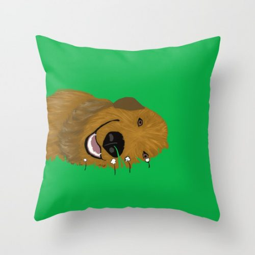 Golden Doodle or Retriever Throw Pillow by Melinda Todd