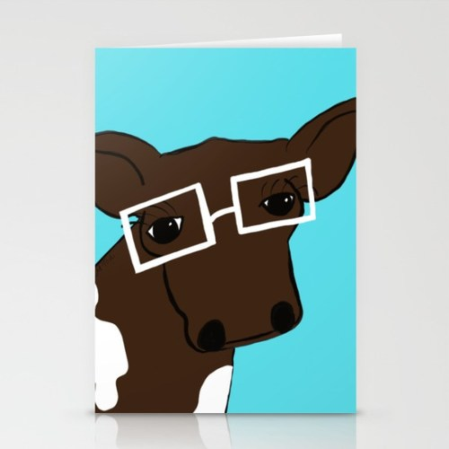 Hipster Cow Cards