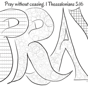 Pray Without Ceasing Coloring Page by Melinda Todd