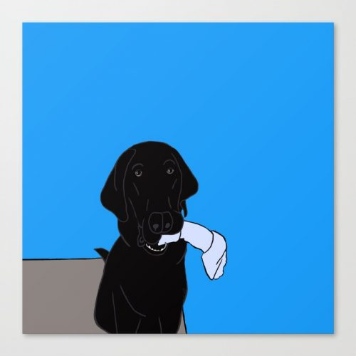 Black Lab With A Bone Canvas Print
