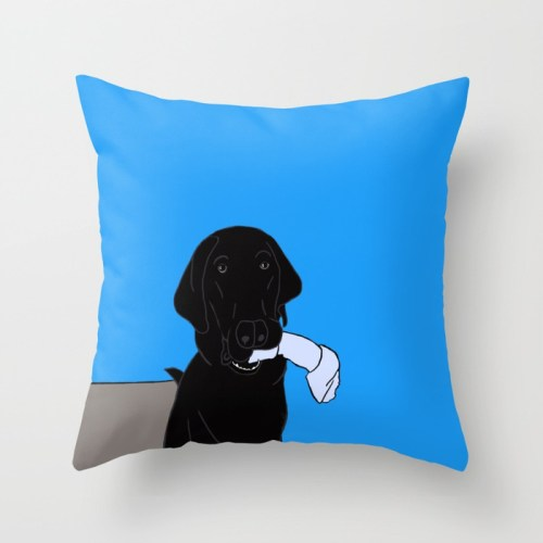Black Lab With A Bone Throw Pillow