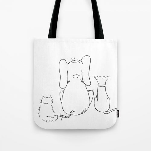 cat elephant and dog friendship trio tote bag