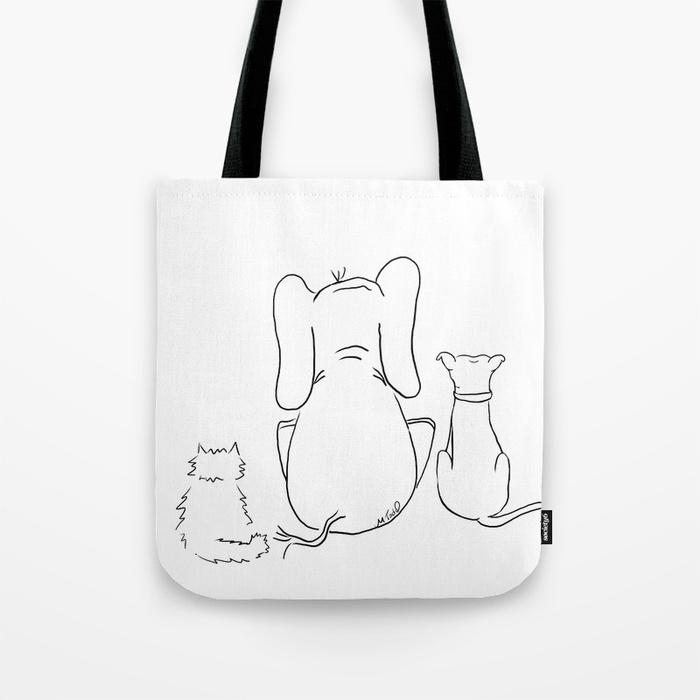 cat elephant and dog friendship trio tote bag