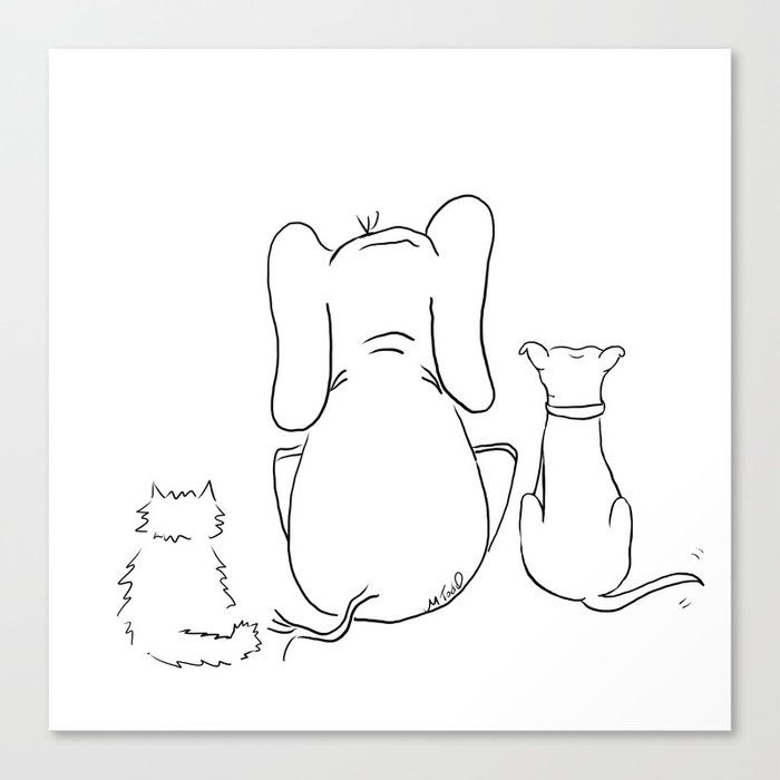 Cat, Elephant, and Dog Friendship Trio Canvas Print