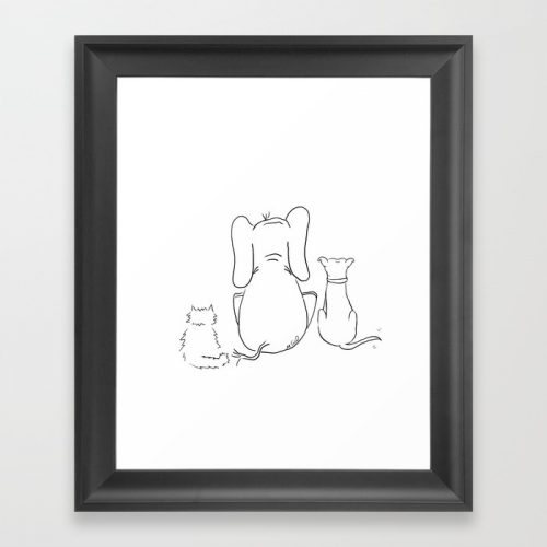 Cat, Elephant, and Dog Friendship Trio Framed Print