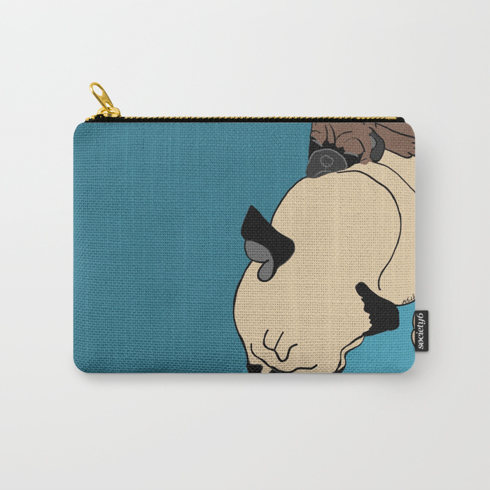 Pug and Puppy Napping Carry All Pouch