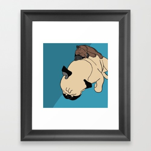 Pug and Puppy Nappy Framed Print