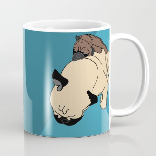 Pug and puppy napping coffee mug
