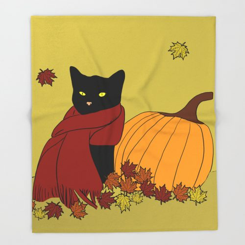 Cascade The Black Cat Welcomes Fall Throw Blanket