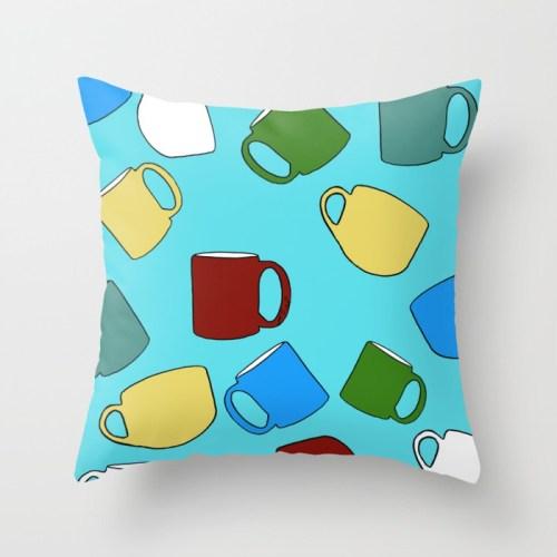 Coffee Mugs Throw Pillow