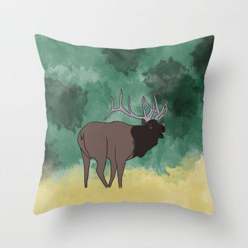 Bull Elk Bugling Throw Pillow