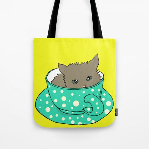 Kitten In A Teacup Tote Bag