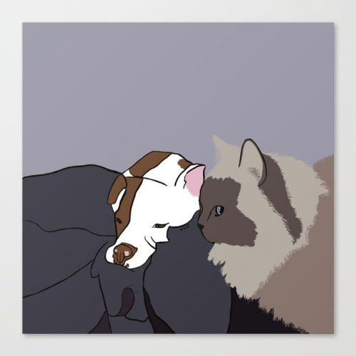 A Pit Bull and Her Kitty Canvas Print by Melinda Todd