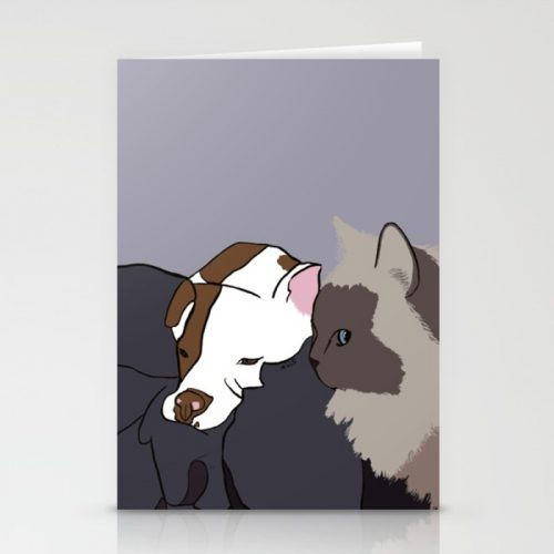 A Pitbull and Her Kitty Greeting Cards