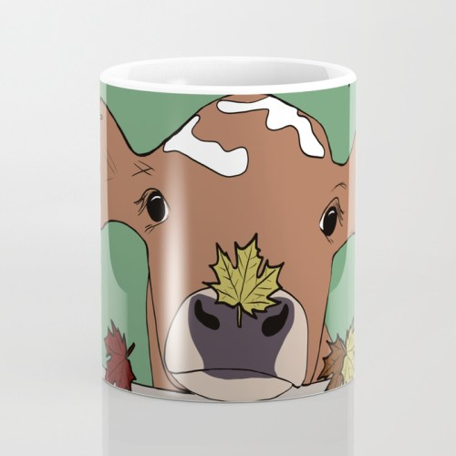 Bessie The Calf and Fall Leaves Coffee Mug