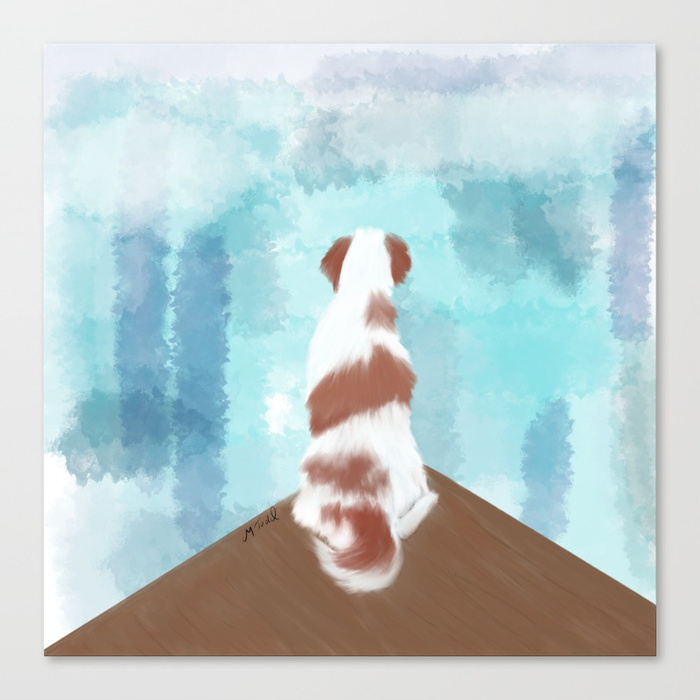Deschutes The Brittany Spaniel Canvas Print by Melinda Todd