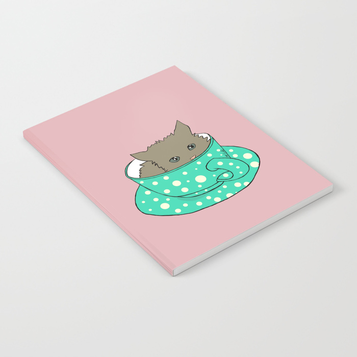 Fluffy Kitten In A Teacup Pink Background Notebook