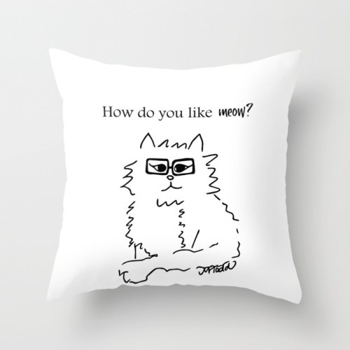 How Do You Like Meow Hipster Kitten Throw Pillow