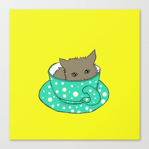 Kitten In A Teacup Canvas Print by Melinda Todd
