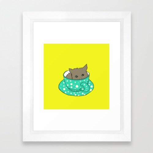 Kitten In A Teacup Framed Print by Melinda Todd