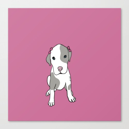 Millie The Pitbull Puppy Canvas Print by Melinda Todd