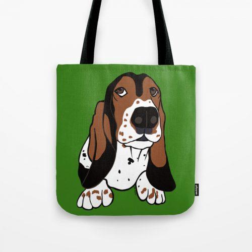 Basset Hound Tote Bag by Mel's Doodle Designs