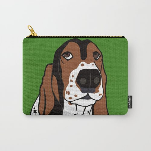 A Dog Mom and Her Basset Hound Carry All Pouch  by Mel's Doodle Designs