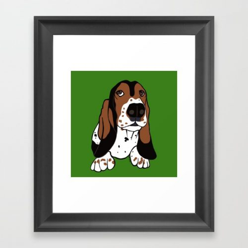 Basset Hound Framed Art Print by Mel's Doodle Designs