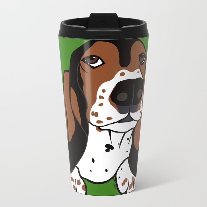 A Dog Mom and Her Basset Hound Travel Mug by Mel's Doodle Designs