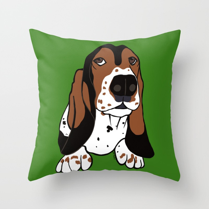 Basset Hound Throw Pillow by Mel's Doodle Designs