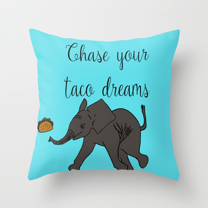 Baby Elephant Chase Your Taco Dreams Throw Pillow by Mel's Doodle Designs